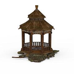 公园亭子模型3d模型