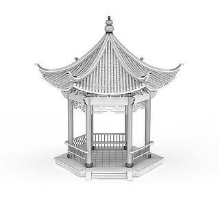 3d公园亭子模型