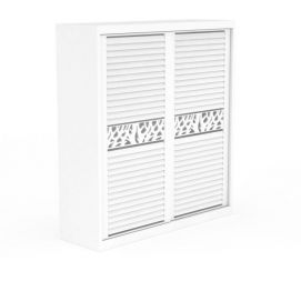 3d简单白色百叶门衣柜模型