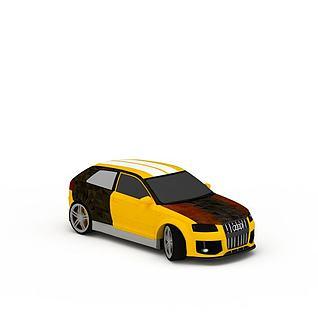 黄色奥迪汽车3d模型3d模型