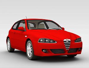 3d家用红色<font class='myIsRed'>小汽车</font>模型