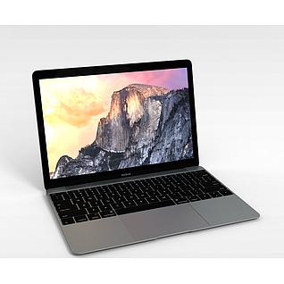 苹果笔记本3d模型