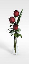 3d玫瑰插花模型