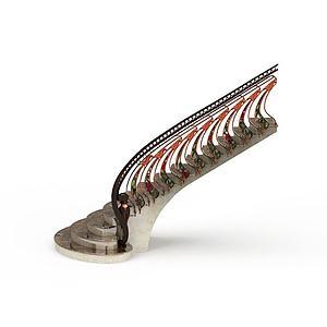 3d扶手楼梯模型