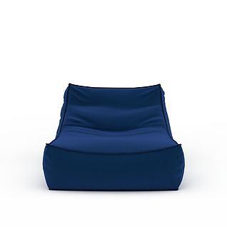蓝色布艺懒人沙发3d模型3d模型