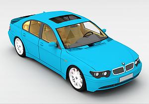 3d蓝色宝马车模型