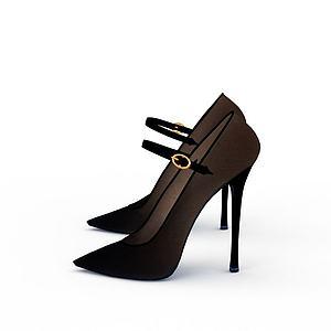 尖頭高跟鞋模型3d模型