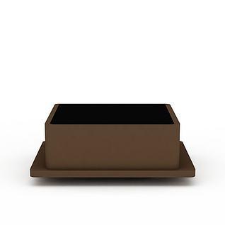 咖啡色方形射灯3d模型