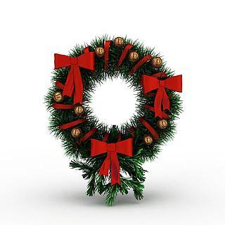 <font class='myIsRed'>圣诞</font>节松针花环3d模型