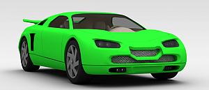3d綠色<font class='myIsRed'>跑車</font>模型