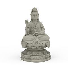 观音菩萨石雕像模型3d模型