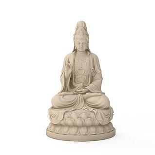 观音菩萨石像3d模型