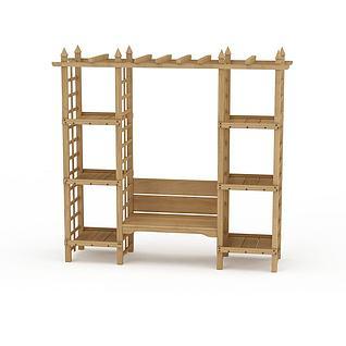 庭院实木置物架3d模型3d模型