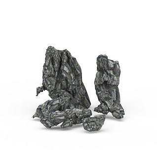 公园石头3d模型