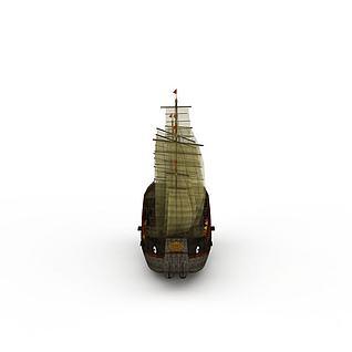 纱布帆船3d模型