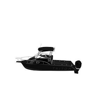 黑色游艇3d模型