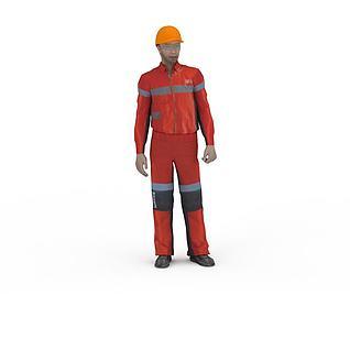工人3d模型