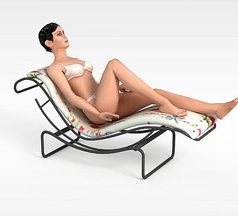 沙滩浴女人