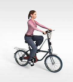 骑单车女孩3d模型