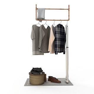 现代衣物晾晒架3d模型
