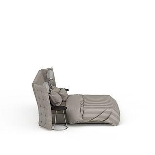 现代灰色软包双人床3d模型3d模型