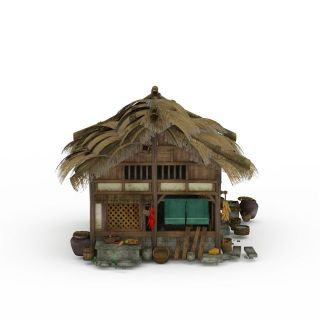 古代茅草屋3d模型