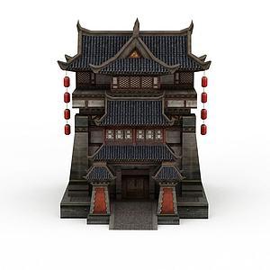古代元素建筑客栈模型3d模型