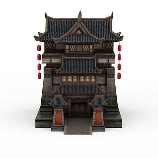 古代元素建筑客栈3d模型