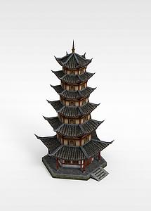 古建塔楼模型3d模型