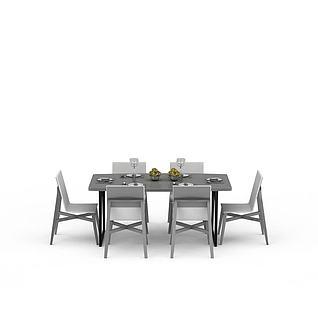 现代简约餐桌椅3d模型3d模型