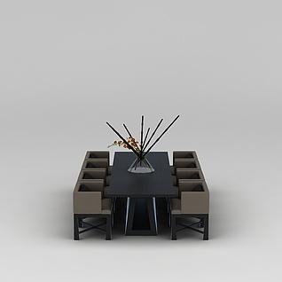 实木餐桌椅3d模型3d模型