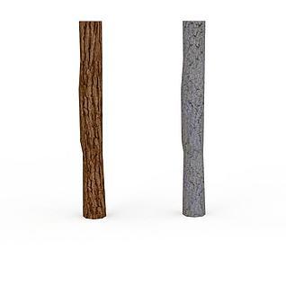 园林小品树干3d模型