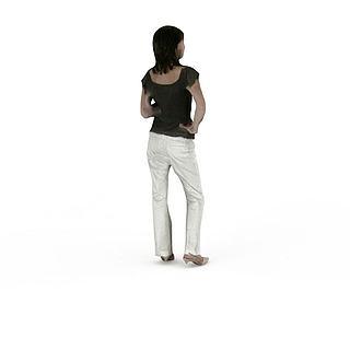 人物短发<font class='myIsRed'>女人</font>3d模型