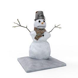 节日雪人装饰3D模型