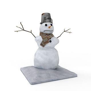 3d节日雪人装饰模型