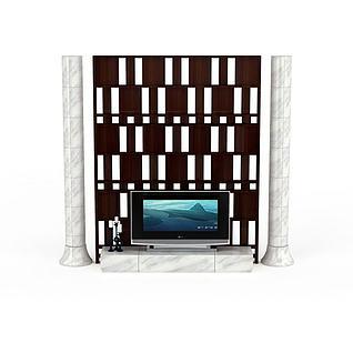现代风格电视墙3d模型