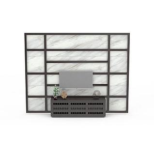现代电视墙3d模型