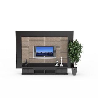 现代简约电视墙3d模型