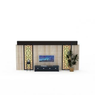 新中式电视墙3d模型