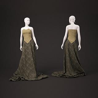 时尚女装展览模特3d模型