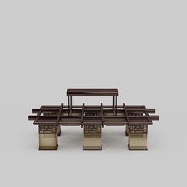 中式实木大吊灯3d模型
