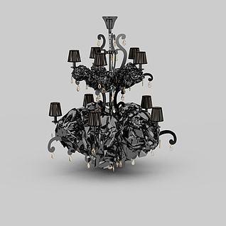 欧式豪华灰色大吊灯3d模型3d模型