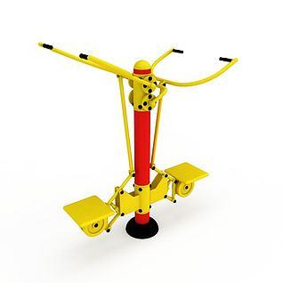 公园健身器材坐拉训练器3d模型