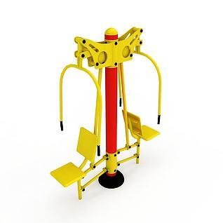 公园健身器材坐推训练器3d模型