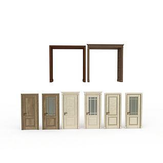 室内各种样式门3d模型