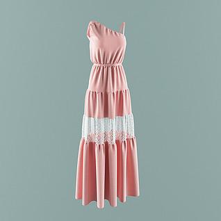 现代女装长裙3d模型