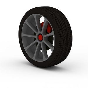 汽车带卡钳轮胎模型