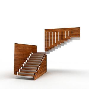 別墅實木樓梯模型3d模型