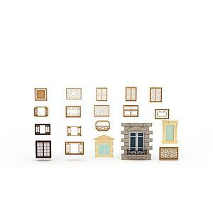 仿古窗素材模型