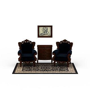 3d客廳休閑沙發茶幾組合模型